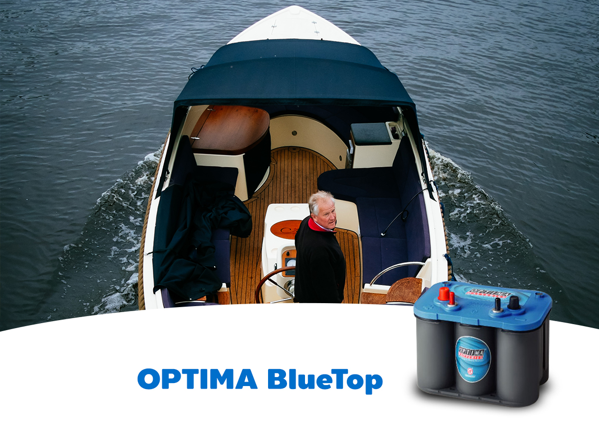 OPTIMA Blue Top Battery STARTING AND DEEP CYCLE BATTERIES FOR MARINE AND RV APPLICATIONS The OPTIMA® BlueTop® comes in two varieties, which makes it ideal for use in all marine applications. One version is a powerful starter battery that, even when operating in the wettest conditions, or in situations where the battery has not been in use for long periods, delivers maximum power. The other version is a starter/ deep cycle battery that also provides power to all your onboard equipment and accessories. When you need high reserve capacity the OPTIMA® TrollFury® is the answer. The specially designed housing allows two batteries to be connected either in series or parallel, for 12 or 24-volt systems. All of this makes OPTIMA® BlueTop® the natural choice for any boat that needs to combine different battery requirements depending on the usage, environment and power needs.