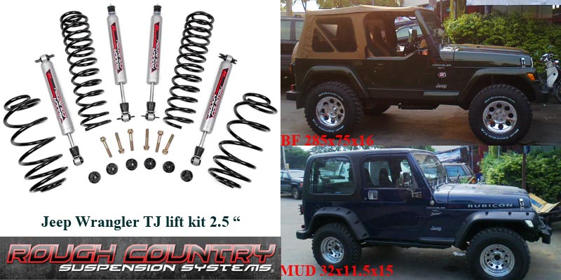 "ชุดยก Rough Country Jeep TJ Wrangler 2.5"" Lift Kit  Brand new kit from Rough Country lifts your 1997-2006 Jeep TJ Wrangler 2.5 inches!.  Kit includes the following:  Front and rear progressive coil springs  Transfer case spacers to maintain factory driveshaft angles  4 Performance 2.2 shocks - setting a new standard in shock design.    ตัวอย่างรูปรถ jeep wrangler ปี 98 ใส่ชุดยก 2.5 นิ้ว ใส่ยาง 285 x 75 x 16"