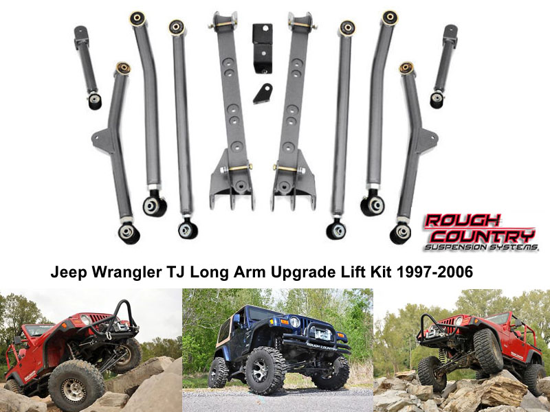 ชุดอัพเกรดชุดยก 6 นิ้วสำหรับ  Jeep Wrangler TJ Long Arm Upgrade Lift Kit 1997-2006  ในชุดประกอบด้วย  - Front and rear high clearance lower control arms w/ flex joints  - Front and rear upper control arms w/ flex joints  - Control arm mounting brackets  - Rubicon compressor bracket  - Rear track bar bracket    Part Brand: ..Rough Country Made in USA