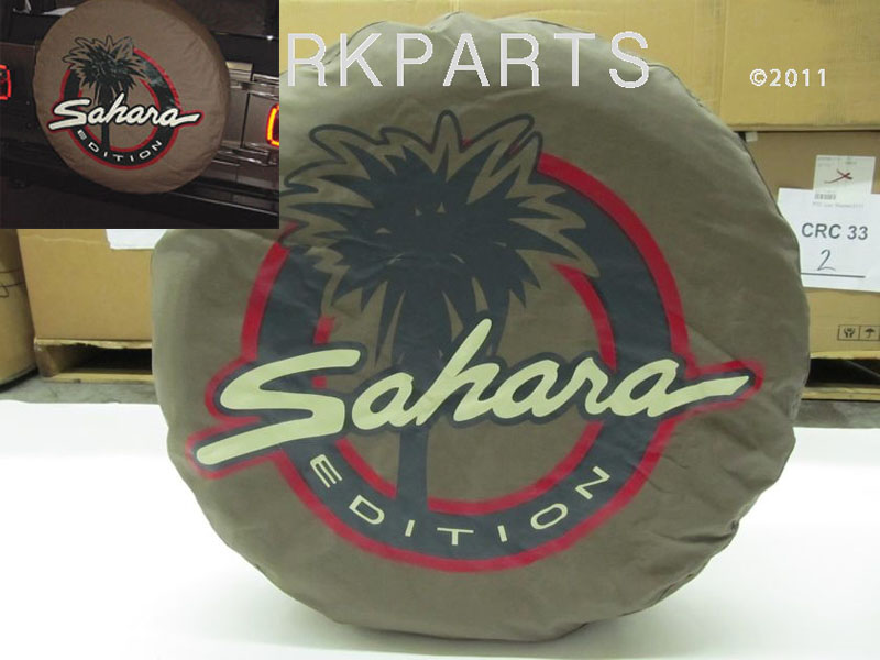 New OEM Jeep Wrangler Sahara   	OEM PART # 82204567AB   	Includes 1 New OEM Tan Sahara Edition Spare Tire Cover   	Fits Tires: LT30 x 9.5 x 15   	ที่คลุมยางอะไหล่หลัง   	ของ Mopar