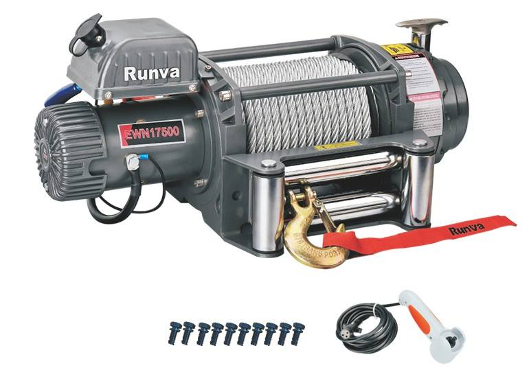 Runva Winch รุ่น 17500lbs (สลิง) มี 12V และ 24VMotor: series wound12V:Input: 5.4kW / 7.2hp;Output: 2.9 kW /3.9hp24V:Input: 6.0kW /8.0hp;Output: 3.1 kW /4.1hpGear reduction ratio 430:1 ราคา 29,900 บาท