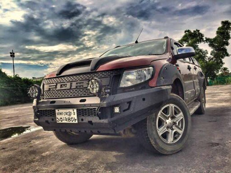 ชุดแต่ง 4x4 Ford Ranger 2012 off road design- Front grill Ranger 2012 V9- Front Bumper- Fog light- Side step- Scoop cover- Body Cladding- Side Vent- Door handle + Door housing Black color- Fender Flar 9 inches with bolt  Review from Bangladesh Customer