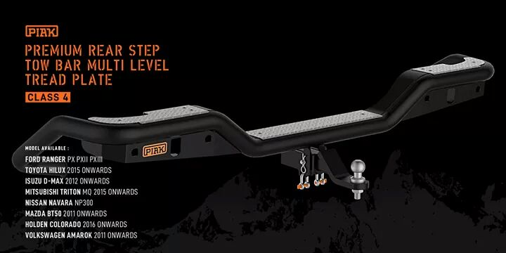 กันชนท้าย Premium Rear Step Tow Bar Multi Level Tread Plate สำหรับรุ่นรถตามนี้เลยครับ- Ford Ranger PX PXII PXIII- Toyota Hilux 2015 Onwards- Isuzu D-Max 2012 Onwards- Mitsubishi Triton MQ 2015 Onwards- Nissan Navara NP300- Mazda BT50 2011 Onwards- Holden Colorado 2016 Onwards- Volkswagen Amarok 2011 Onwards